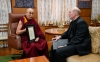 Bishop Thomas Zinkula of Davenport, Iowa, presents His Holiness the Dalai Lama, the spiritual leader of Tibet, with the Pacem in Terris Peace and Freedom Award at His Holiness' residence in India March 4, 2019. Photo: OHHDL/Tenzin Jamphel