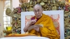 "His Holiness the Dalai Lama explaining Tsongkhapa's ""Three Principal Aspects of the Path"" on the second day of his teachings at the Main Tibetan Temple in Dharamsala, HP, India on May 11, 2019. Photo by Lobsang Tsering"