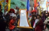 Protesters holding a large banner of the Proclamation of Independence for Tibet Issued by the 13th Dalai Lama, in 1913, in Dharamshala, India, on February 13, 2020. Photo: TPI/Yangchen Dolma