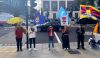 Protestors hold up an item to represent five communities that are under attack by the CCP. From left to right: Hong Kong, South Mongolia, East Turkestan, Taiwan and Tibet. Photo: Free Tibet, UK