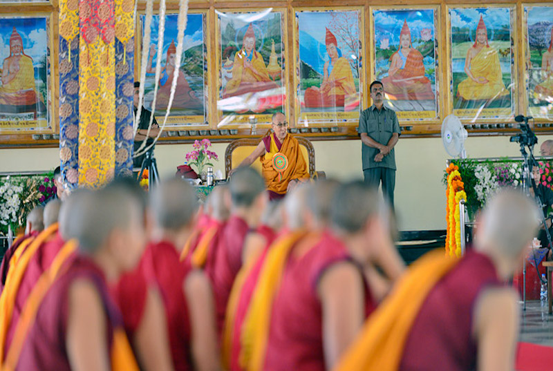 His Holiness the Dalai Lama speaking at the inauguration of the new debate yard at Jangchub Choeling Nunnery in Mundgod, Karnataka, India on December 15, 2017. Photo: Lobbing Tsering