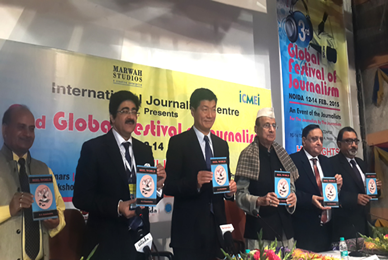 Dr Lobsang Sangay  inaugurated a three-day Global Festival of Journalism held at Marwah Studio organised by International Journalism Centre on eve of International Journalism Day in Noida. Photo: TPI