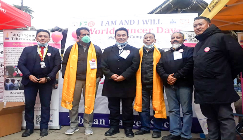 Tibetan Cancer Society organizes an event to raise awareness of the public on cancer detection cum prevention and treatment at McLeod Ganj Main Square, Dharamshala on February 4, 2021.