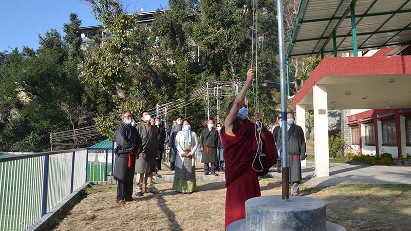 Central Tibetan Administration Ministers celebrating India's 72nd Republic Day at Kashag Secretariat, Dharamshala. Photo: TPI/Yangchen Dolma