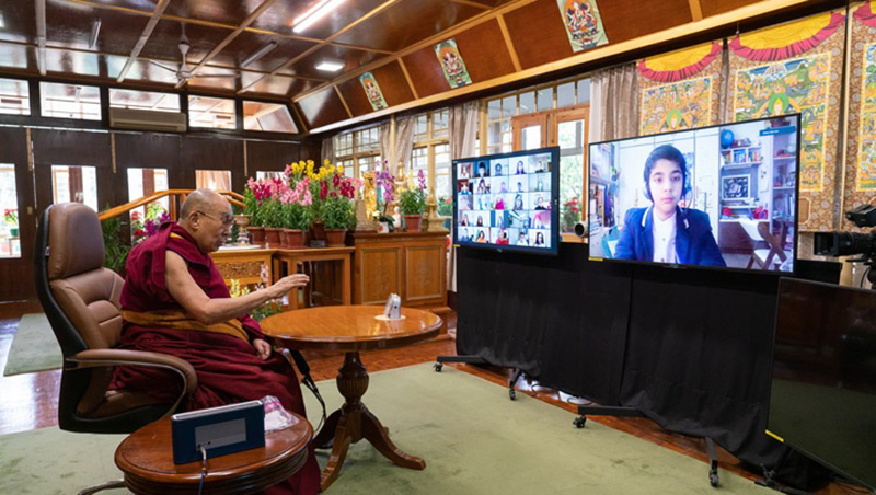His Holiness the Dalai Lama answering a student's question during their conversation on Well-being and Resilience at his residence in Dharamsala, HP, India on January 22, 2021. Photo by Ven Tenzin Jamphel