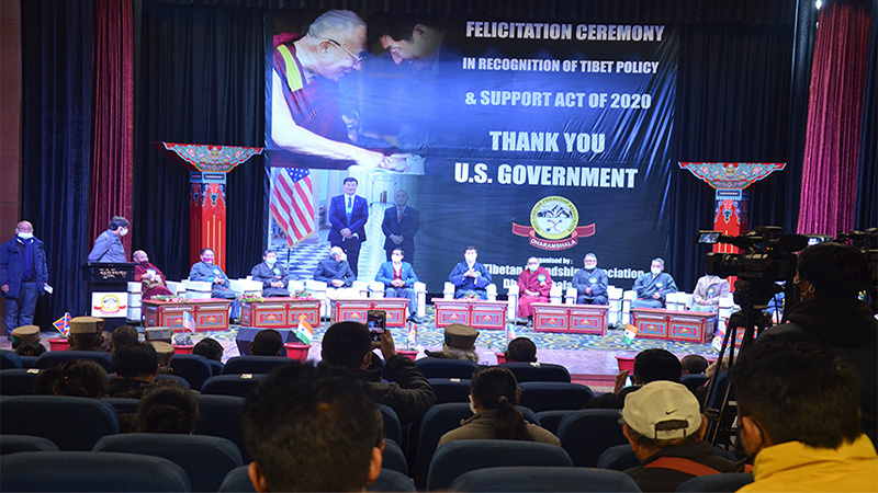 A felicitation ceremony was held in at the auditorium of Tibetan Institute of Performing Arts (TIPA) in recognition of the Tibetan Policy and Support Act 2020 (TPSA) on January 16, 2021. Photo: TPI/ Yangchen Dolma