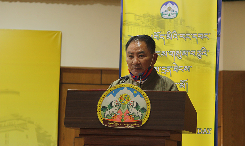 Pema Jungney, Speaker of the Tibetan Parliament-in-Exile while he is speaking to the audience at Sikyong Hall, CTA.  Photo:TPI