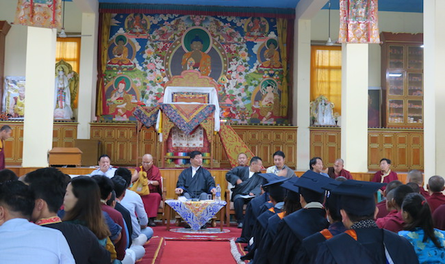 President Dr Lobsang Sangay at the 20th founding anniversary of Sarah College for Higher Tibetan Studies, in Dharamshala, India, on August 14, 2018. photo: CTA/DIIR
