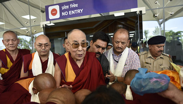 His Holiness the Dalai Lama arrives at Gaggal airport after successfully concluding 11-day teaching tour in the Baltic States. Photo/Tenzin Jigme/DIIR