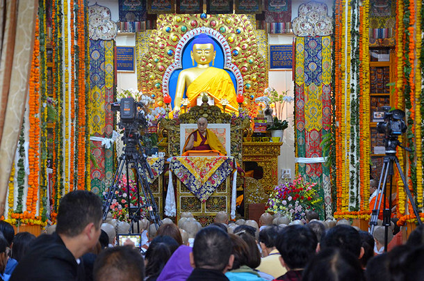 His Holiness the Dalai Lama speaking on the first day of his four day teaching at the request of groups from Southeast Asia at the Main Tibetan Temple in Dharamsala, HP, India on September 4, 2018. Photo: TPI/Yangchen Dolma