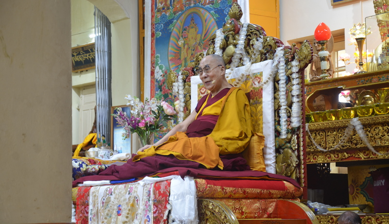 His Holiness the Dalai Lama during a prayer session on his 84th birthday at main Tibetan temple in Dharamshala, HP, India on July 6, 2019. Photo: TPI/Yangchen Dolma