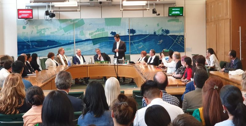 President Dr Lobsang Sangay presents a talk on 'Geopolitics of China in Europe: Tibet, a case study' at the All Party Parliamentary Group for Tibet Meeting at Boothroyd Room, Portcullis House, London, UK, on June 26, 2019. Photo: Office of Tibet, London