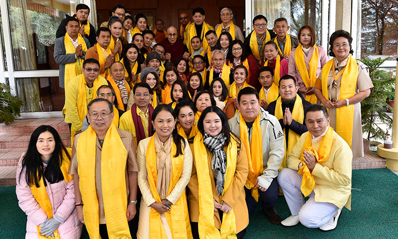 A group of 50 devotees from Thailand led by Dr Aphinita Chaichana visited His Holiness the 14th Dalai Lama at his private residence in Dharamshala, HP, India, on March 4, 2019. Photo: TPI
