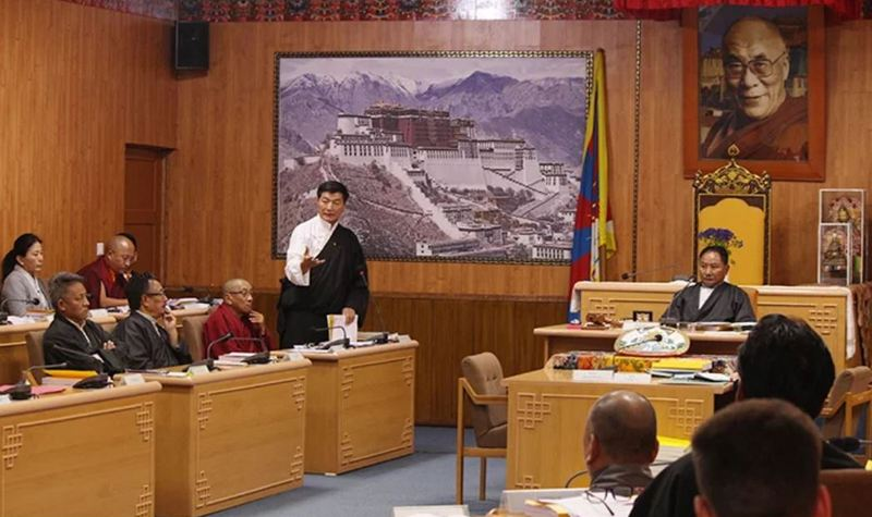 President Dr Lobsang Sangay clarifying on the Kashag's Five Fifty vision during the seventh Parliamentary session of the 16th Tibetan Parliament in Exile, in Dharamshala, India, on March 28, 2019. Photo: Office of Sikyong
