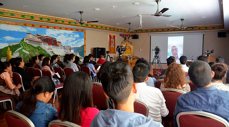 "To mark the International Press Freedom Day 2019, the Tibetan Center for Human Rights and Democracy (TCHRD) and the Association of Tibetan Journalists (ATJ) have organised a panel discussion on ""Freedom of Movement and Access in Tibet"", in Dharamshala, India, May 3, 2019. Photo: TPI/Yangchen Dolma"
