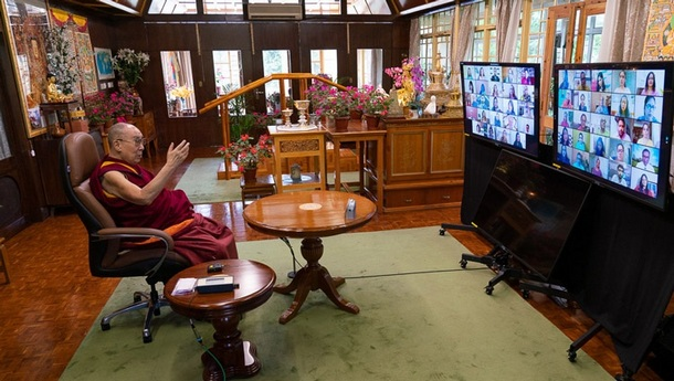 His Holiness speaking on Secular Ethics in Modern Education to members of Mind Mingle by video link from his residence in Dharamsala, HP, India on August 25, 2020. Photo by Ven Tenzin Jamphel