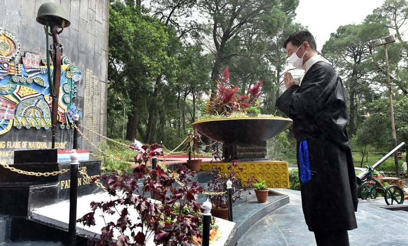 President Dr Lobsang Sangay paying respect to the martyrs at the State War Memorial, in Dharamshala, India, on August 15, 2020. Photo/Tenzin Phende/CTA
