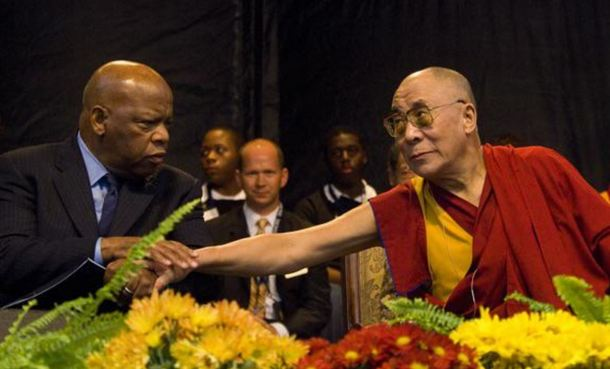 His Holiness the Dalai Lama with Congressman John Lewis, during his visit to USA in 2007. Photo: File