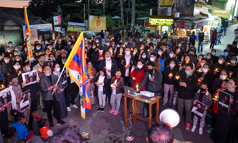 Tibetans in a candlelight Vigil to shed light on the deteriorating Human Rights situations in Driru County, Nagchu in eastern Tibet, on 3rd November, 2020. Photo: TPI/ Yangchen Dolma