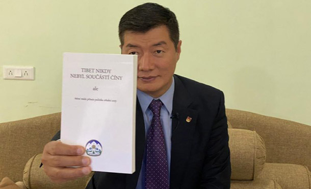 Sikyong Dr Lobsang Sangay launches Tibet was never part of China but Middle Way Approach is a viable solution in Czech language. Photo: Tibet Bureau Geneva