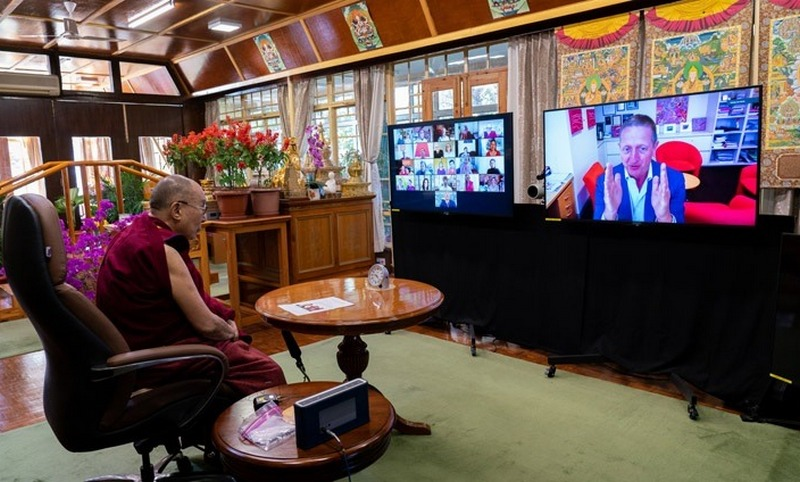 Ian Hickie, a Professor of Psychiatry in Sydney, speaking by from Australia during the dialogue with His Holiness the Dalai Lama at his residence in Dharamsala, HP, India on November 19, 2020. Photo by Ven Tenzin Jamphel/OHHDL