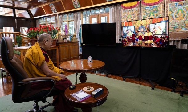 His Holiness at his residence in Dharamsala, HP, India on October 15, 2020. Photo by Ven Tenzin Jamphel
